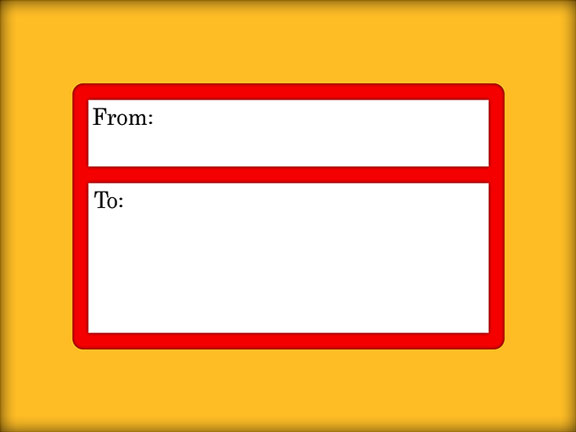 red and white address label on a brown envelope