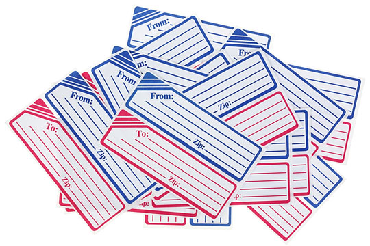blue and red mailing labels